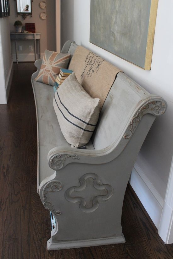 Refinished church pew. I want this! - My-House-My-Home
