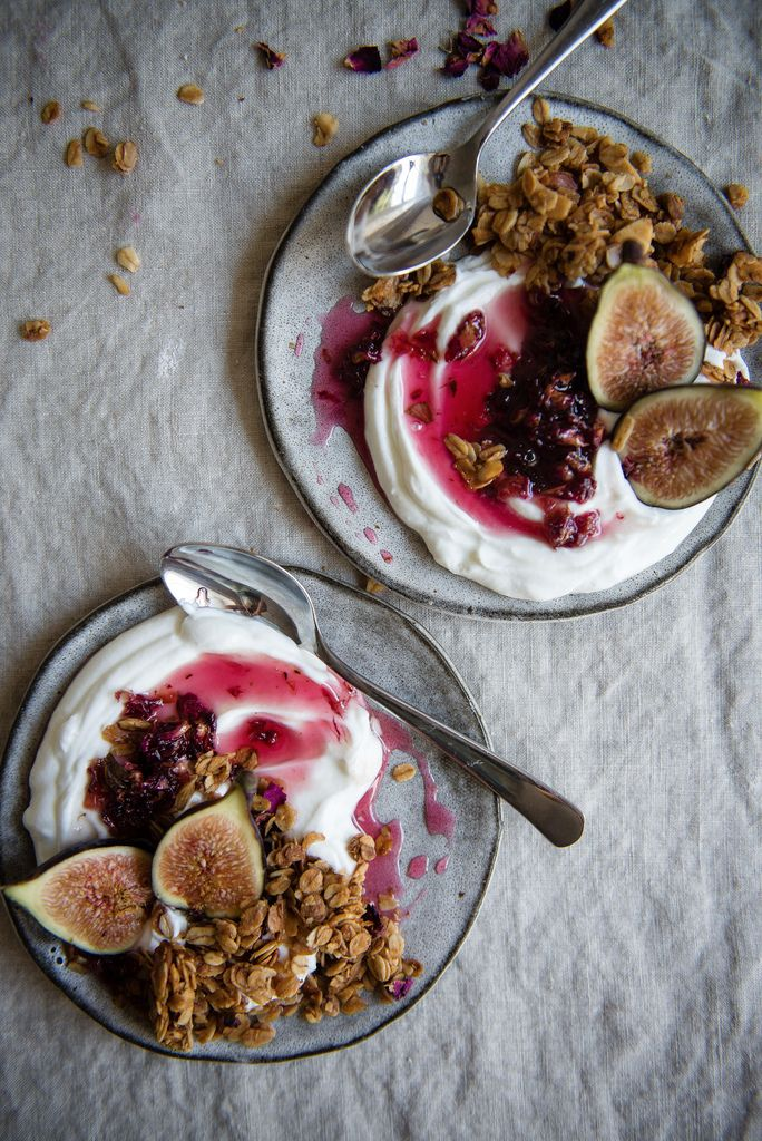 Fig, rose & almond granola parfaits.