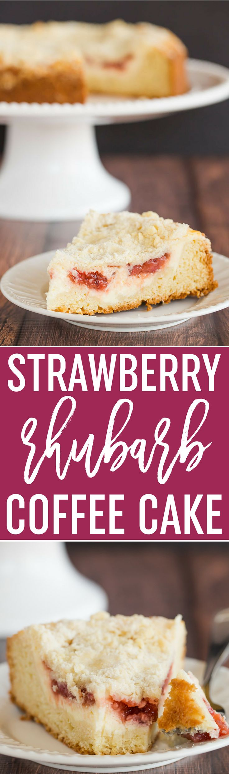 Strawberry Rhubarb Coffee Cake - A biscuit-like cake topped with a cream cheese filling and homemade strawberry rhubarb jam. via @browneyedbaker