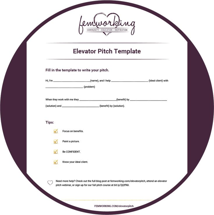 Keys To A Successful Elevator Pitch  Free Training  Template