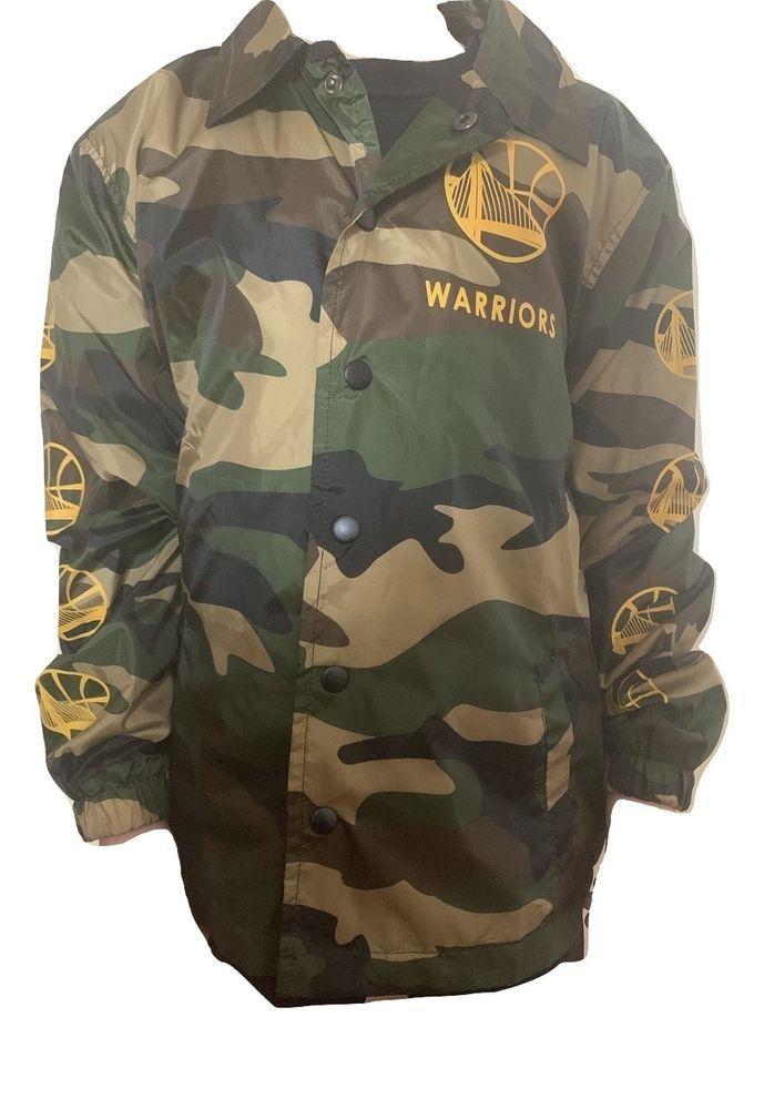 351c12fd7a6e40 Golden State Warriors Boys Long Sleeve Camouflage Windbreaker Jacket Size 10 -12  NBAU  Jacket  Everyday