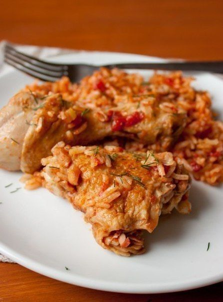 Chicken with rice in tomato sauce