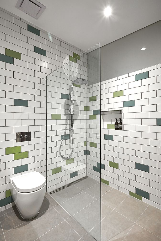 Finished Product....! Interior of the bathroom at our Herbert Street Project, Matt White/Sea Green/May Green tiles from Signorino Tiles in Richmond. Photography by Fraser Marsden