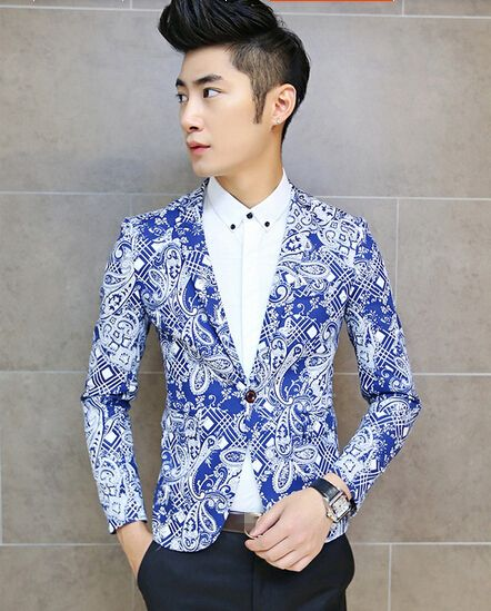 Korean Men Blazer Blue Floral Printing Ball Gown Button Party Wear Handsome Male top Size M-XXL For Sale