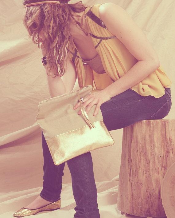 Grace Linen & Metallic Leather Clutch