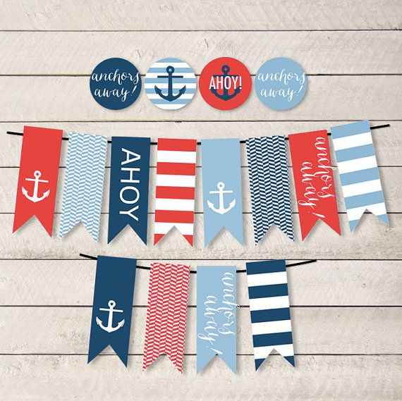 Nautical Party Decor, Nautical Party Banner, Nautical Banner, Nautical Shower, Nautical Baby Shower, Nautical Bridal Shower, DIY PRINTABLES