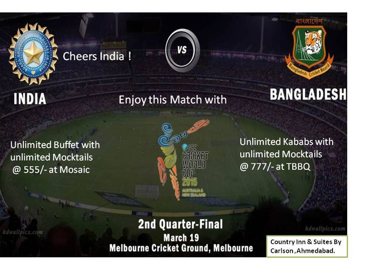 Cheers for India . Enjoy  #INDvsBAN  Cricket match Unlimited Buffet,Moctails @Mosaic #restaurant with also Taste #kababs with Mocktails @TBBQ