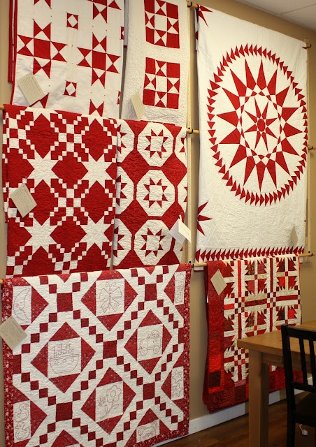 Wonderful red and white display.  Temecula Quilt Co