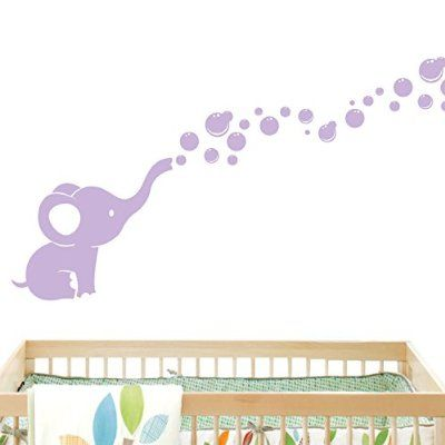 Elephant Bubbles Wall Decal - Lilac Nursery Room Wall Decor