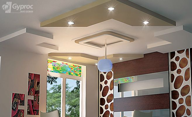 False ceiling drywall saint gobain gyproc india for Drywall designs living room