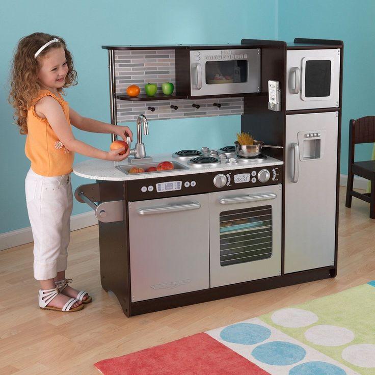 Kidkraft Deluxe Kitchen Wooden Set Childrens Cooking Role Play Girls Kids Fridge      eBay!