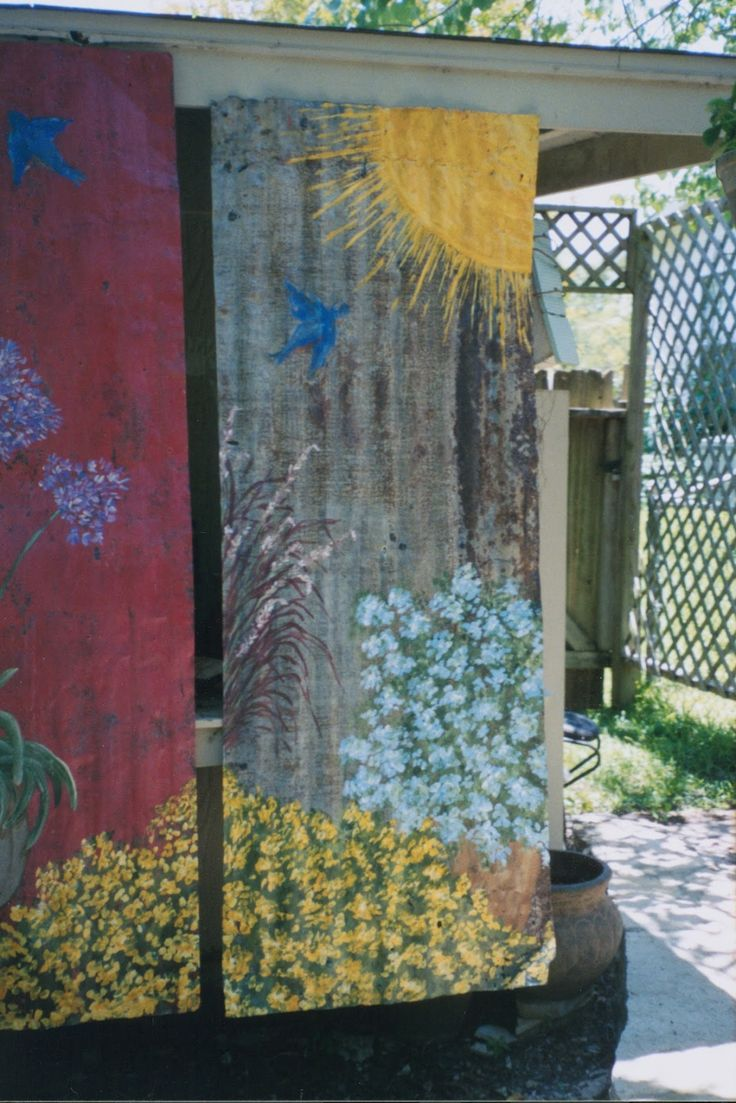 PAINTING ARTWORK ON RUSTY OLD CORRUGATED ROOF TINS FOR RUTH Ruth built a new home way out in the country.   She had me do several thin...