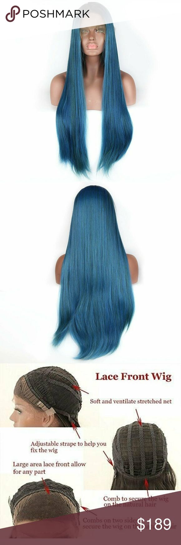 "Ombre Blue Lace Front Wig 24-28 inches Natural Looking: Human Hair Blend handtied 2.5"" lace Fashion Style:Long Straight Glueless Lace Front Wig(Kind Reminder: Slightly Color Difference between Different Monitors) 22-28 inches. Flexible Fit:Average Cap Size In Circumference 22.5 Inches,can be slightly adjusted with Adjustable Straps and 3 Combs to fit different size head Color: As pictured. Hair can be heated, curled, straightened, and flat iron, just spray with water first.           ap37omb…"