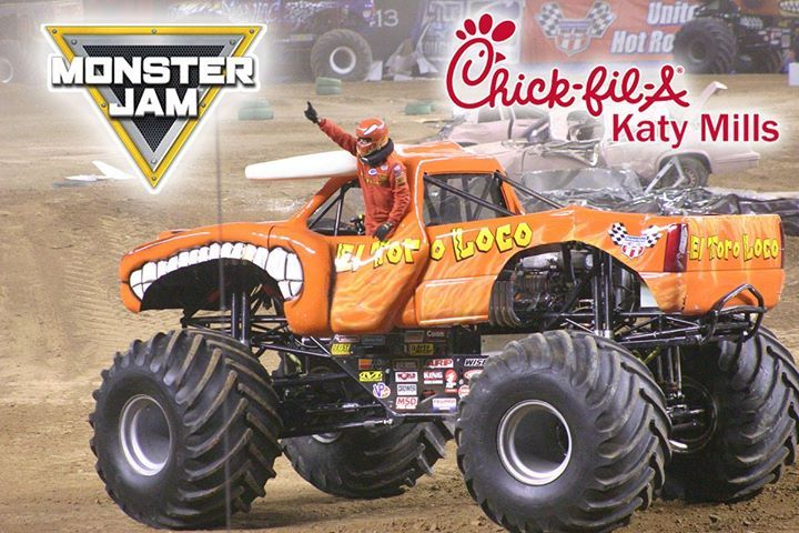 MONSTER JAM HOUSTON 2017 EL TORO LOCO...  January 7th February 11th & 17th  Come to Chick-fil-A Katy Mills and get a discount coupon voucher and save $10.00 off the retail price of your Monster Jam ticket.  El Toro Loco is going to be there along with other monster trucks. Don't miss it!!!  #chickfilakatymills #chickfilakaty #cfakatymills #cfakaty #chickfila #katytx