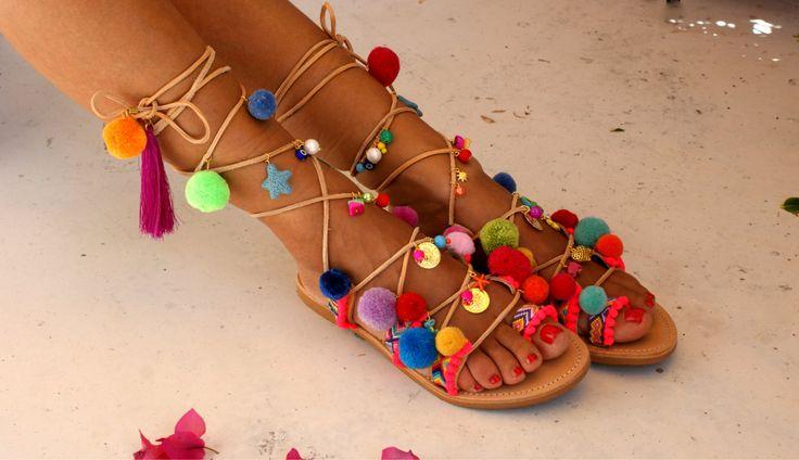 Pom pom sandals/ Tie up Gladiator Sandals/ Boho by magosisters