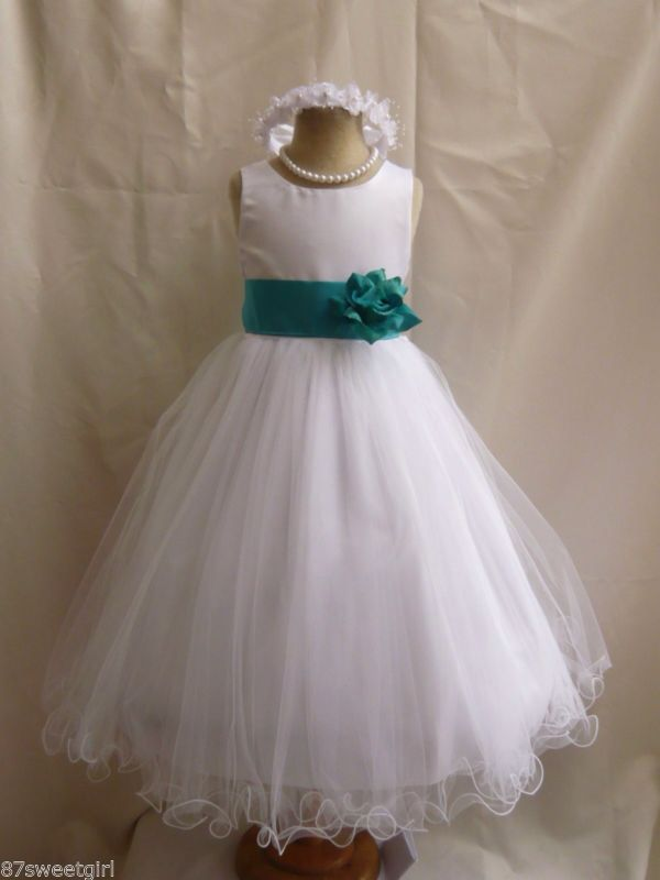 Teal bridesmaid dress kids - this is cute but I prefer the one we have already bought Kacie