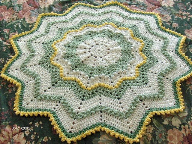 Round Ripple Baby Blanket Crochet Afghans By Me Baby
