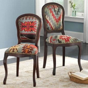 Kilim chairs - for someday when my kids are old enough to not always spill food on kitchen chairs!  These are stunning!! :)