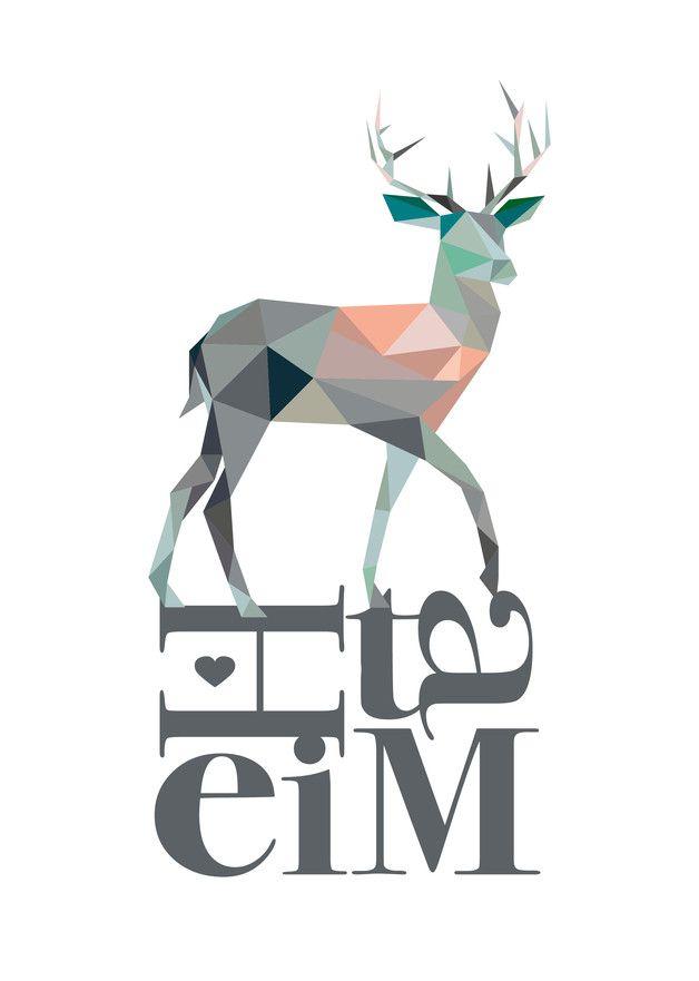 """Digitaldruck für Zuhause: Poster mit geometrischem Muster und Schriftzug """"Heimat"""" und Hirsch / artprint with geometrical illustration of a deer made by Heimwerk_Design via DaWanda.com"""