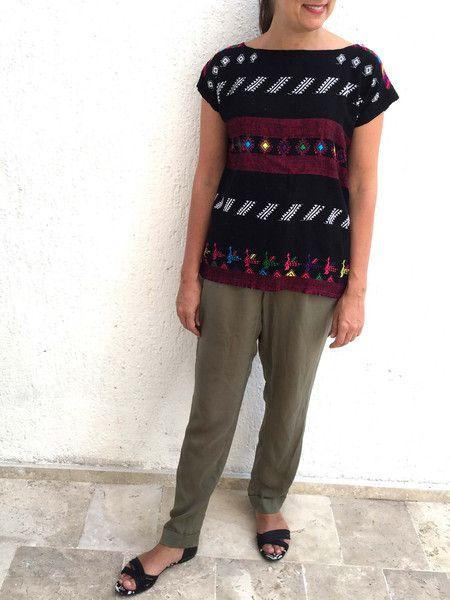 Hand Loomed Venus Blouse Black | Chiapas Bazaar| Fairtrade Mexican Artisanal Collection