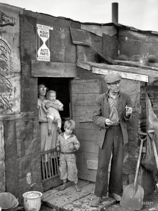 "Living FDR's dream: January 1939. ""Herrin, Illinois. Family on relief living in shanty at city dump."" Photo by Arthur Rothstein for the Resettlement Administration."