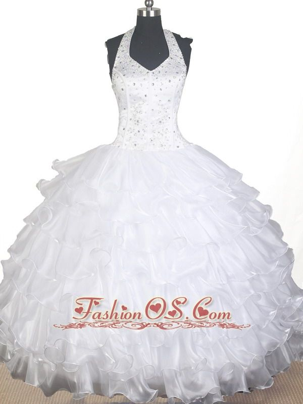 Lovely Beading Ruffled Layers Ball Gown Little Gril Pageant Dress Halter Top Floor-length    Lovely pageant dress for girls . This organza pageant gown displays a halter neckline, gorgeous beaded bodice . Completing the look of this pageant dress is a ruffled ball gown skirt. This sweet dress will make your girl feel like a princess.