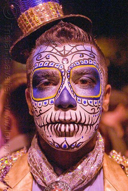 Dia de los Muertos makeup on a guy.