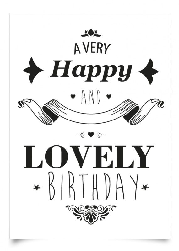 Happy Birthday - black & white | HAPPY BIRTHDAY Greetings ...