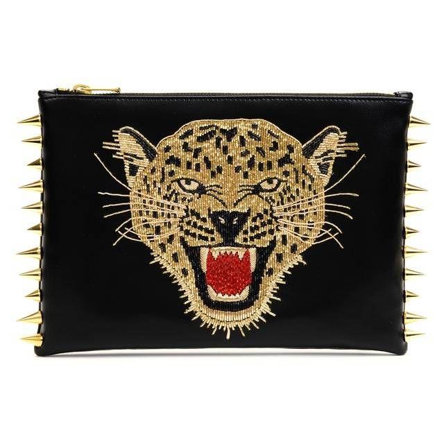 C MPL T UNKN WN Leopard Gold clutch