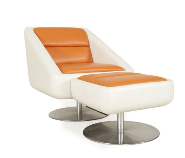 Moroni   Radial Leather Swivel Chair With Ottoman Set In Burnt Orange/Snow    56406