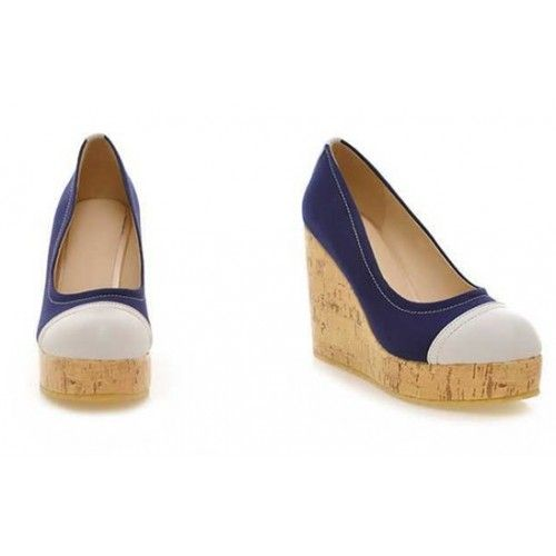 Kode : AWF-372, Nama : Casual Wedges Denim & White Leather, Price : IDR 175