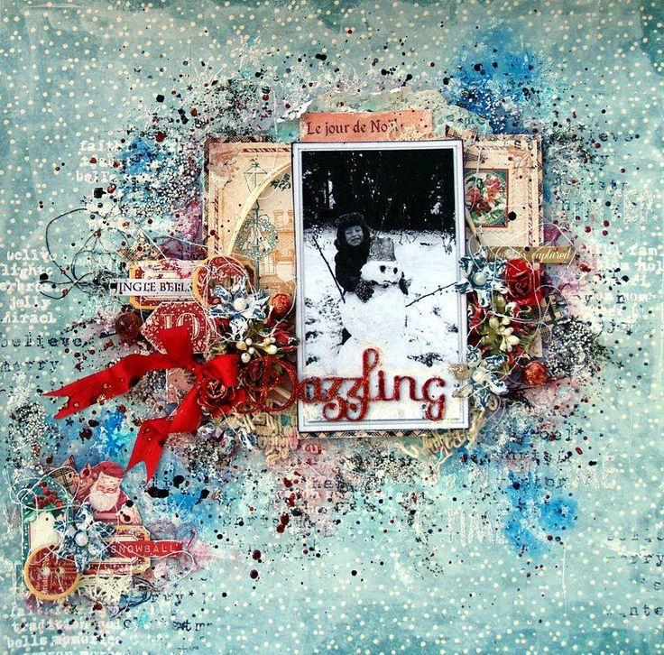 Scraps of Elegance scrapbook kits: Anna Rogalska created this stunning blue and red winter / Christmas mixed media layout with our Dec. Silver Bells kit. Subscribe and receive a new box of mixed media goodness delivered to you each month! www.scrapsofdarkness.com