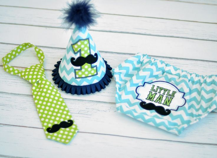 Birthday Party Hat, Diaper Cover, Tie - First Birthday, Smash Cake Pics, Photo Prop - Little Man Mustache in Lime Green, Navy Blue and Aqua - Little Man Mustache Cake Smash Outfit
