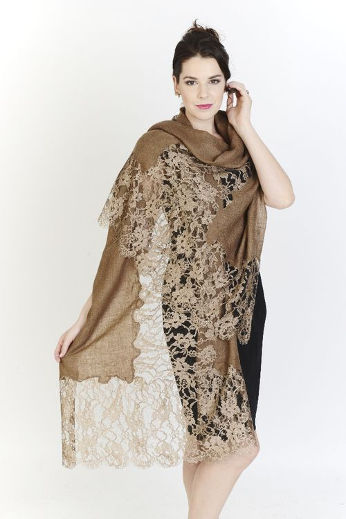 Soft Beige Hand Spun Pashmina With Chantilly Lace Rs.43839