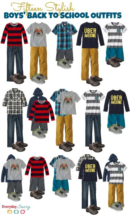 Save money with 15 Stylish Boys' Back to School Outfits that mix and match.