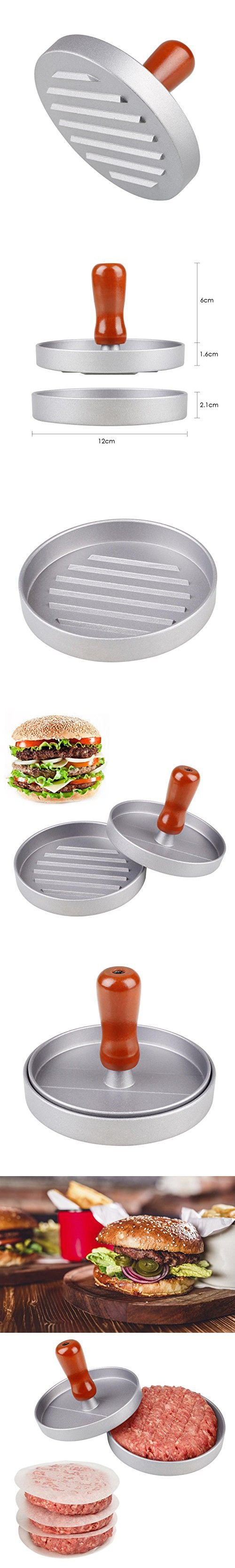 Good Kicode Aluminum Burger Press Hamburger Maker Non Stick Patty Mold Ideal For  BBQ(Gray)