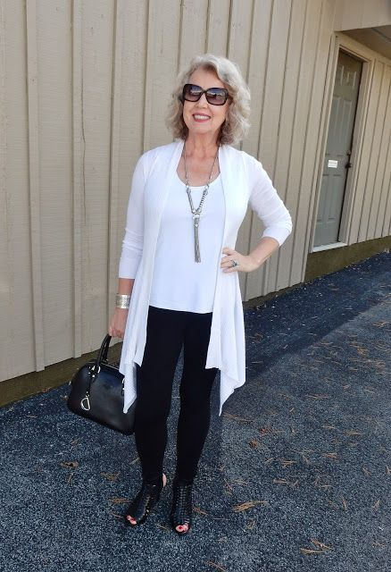 """Sometimes leggings, a cardigan, and a tank are all you need to look polished and put together..."" 
