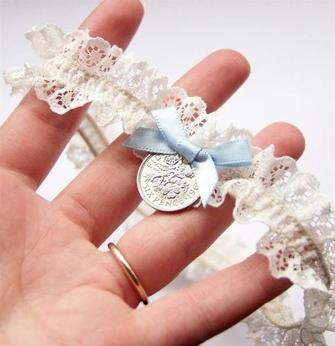 Lucky Sixpence bridal garter - Each sixpence has been polished by hand & are genuine circulated sixpences so therefore this garter can also be used as your traditional Something Old! is fashioned from beautiful French lace & a blue silk satin bow for your traditional Something Blue.