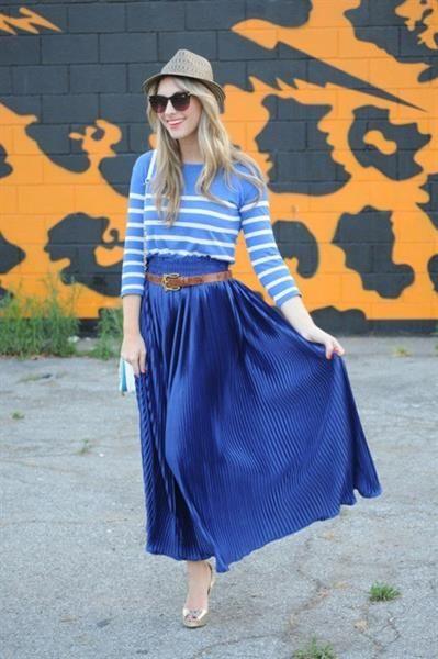 Юбка плиссе синяя с чем носить