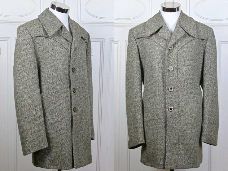 1960s Wool Overcoat, Light Brown Beige Birdseye Tweed Wool-Blend Three-Quarter Length Dutch Vintage Pristine Condition Men's Coat: 42 US/UK by YouLookAmazing on Etsy