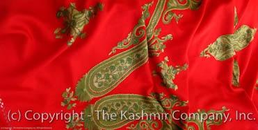 Kashmir Almond Paisley Red Shawl