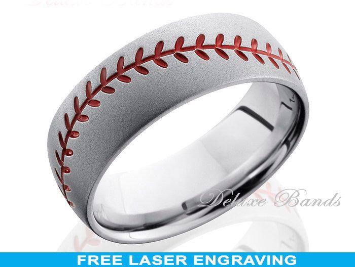 Titanium Baseball Wedding Ring,Mens Wedding Band,Titanium Baseball Wedding Band,Custom Made,Baseball Ring,Titanium Anniversary Band by DeluxeBands on Etsy https://www.etsy.com/listing/206455572/titanium-baseball-wedding-ringmens