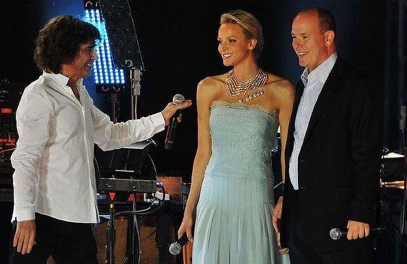 Alberto e Charlene di Monaco a concerto Jean Michel Jarre per nozze civili - Foto Getty