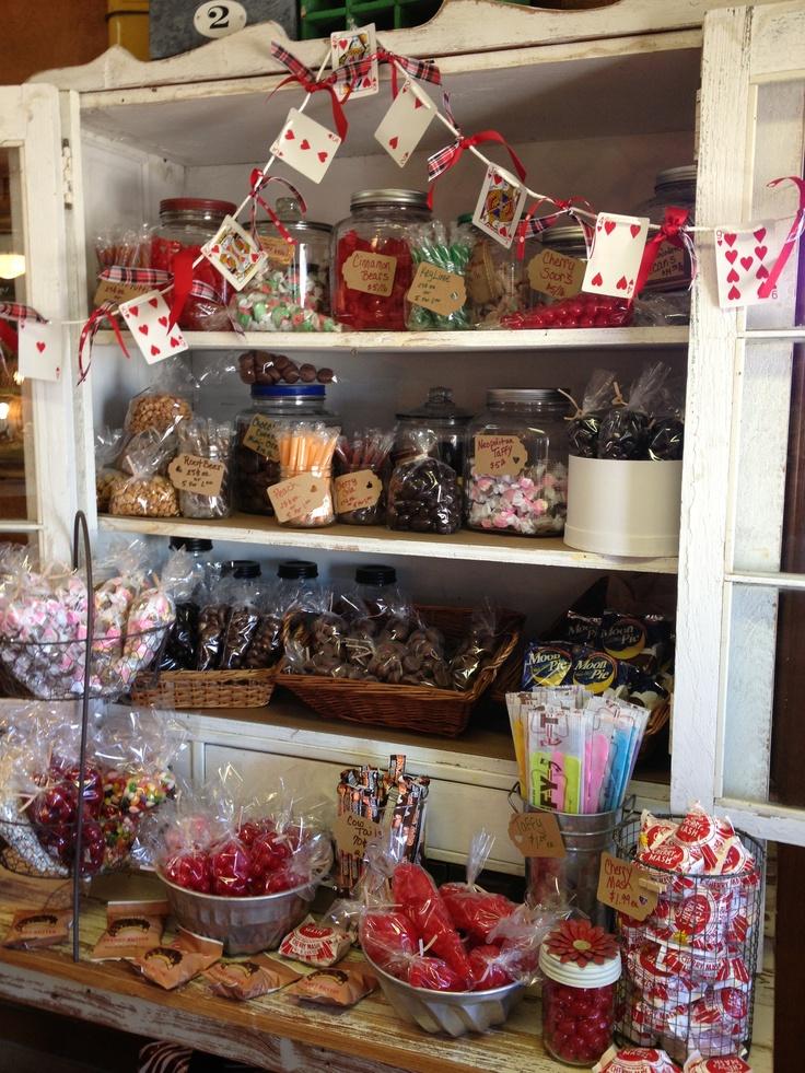 Valentine Candy Display at Nest Vintage, Johnson City, TX