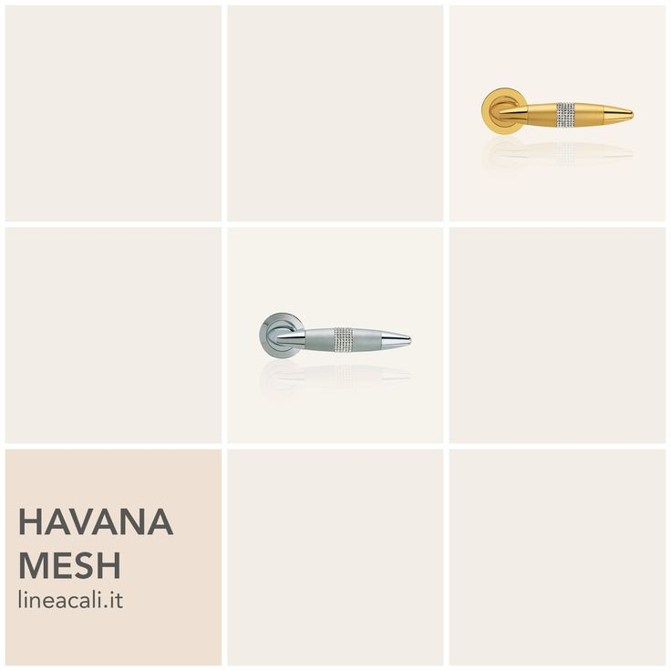 Havana Mesh | Just as a jewel brings out the beauty in a woman, a ring studded with Swarovski® crystals illuminates this collection bursting with infinite multi colour reflections. #handles #doorhandle #doorhandles #lineacali #maniglie #round #classic #cigar #brass #klamki #ручки #manillas #klinken #crystal #swarovski #luxury