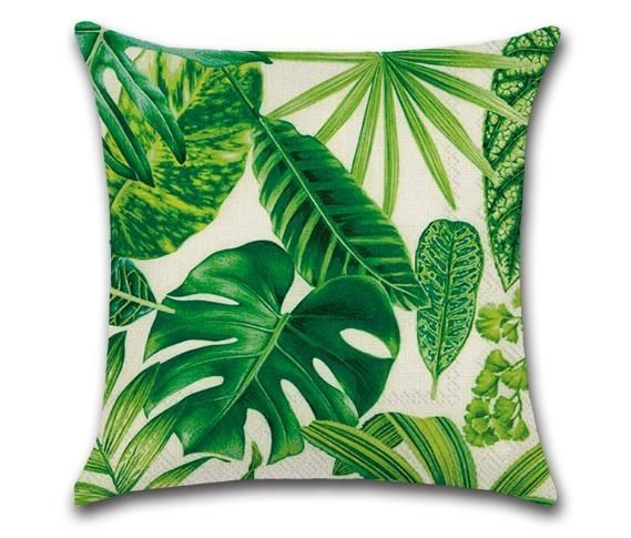 Tropical Plants Green Leaves Pillow Case Sofa Bed Throw Cushion Cover Home Decor