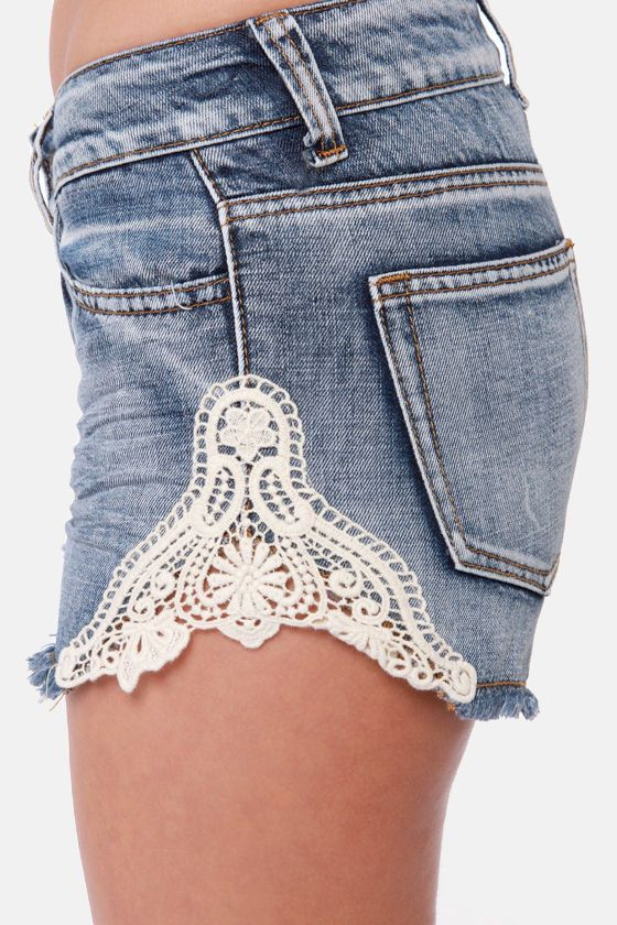 Lost Shine On Lace Denim Shorts $40.00 #LuLus
