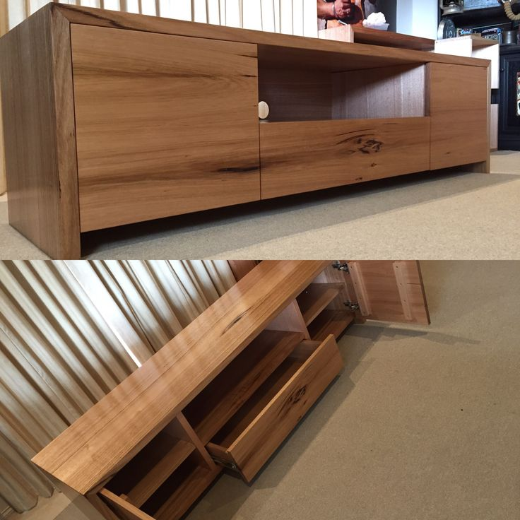 Solid hardwood timber TV unit with push to open drawer & cupboards