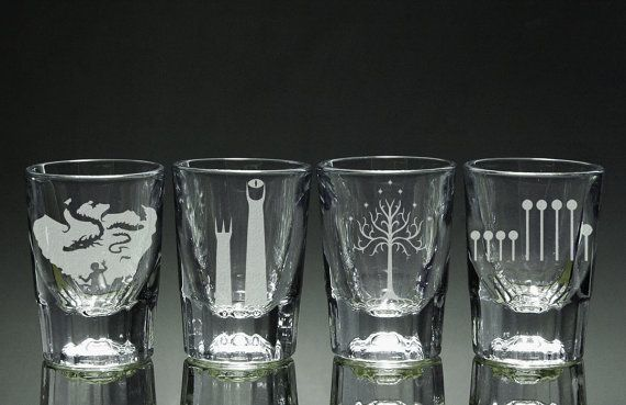 Lord of the Rings shot glasses......https://www.etsy.com/listing/150807900/lord-of-the-rings-shot-glasses-set-of-4