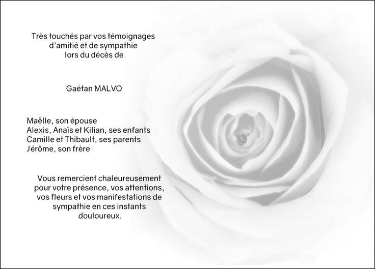 Carte décès - thème fleurs - Au cœur de la rose